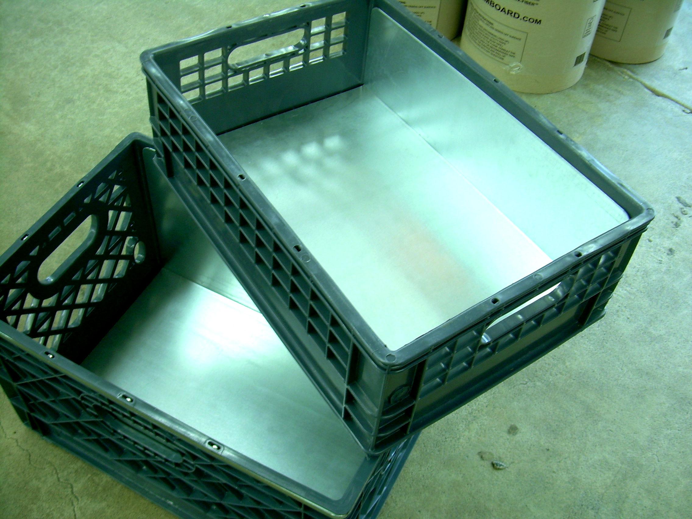 milk crate steel inserts